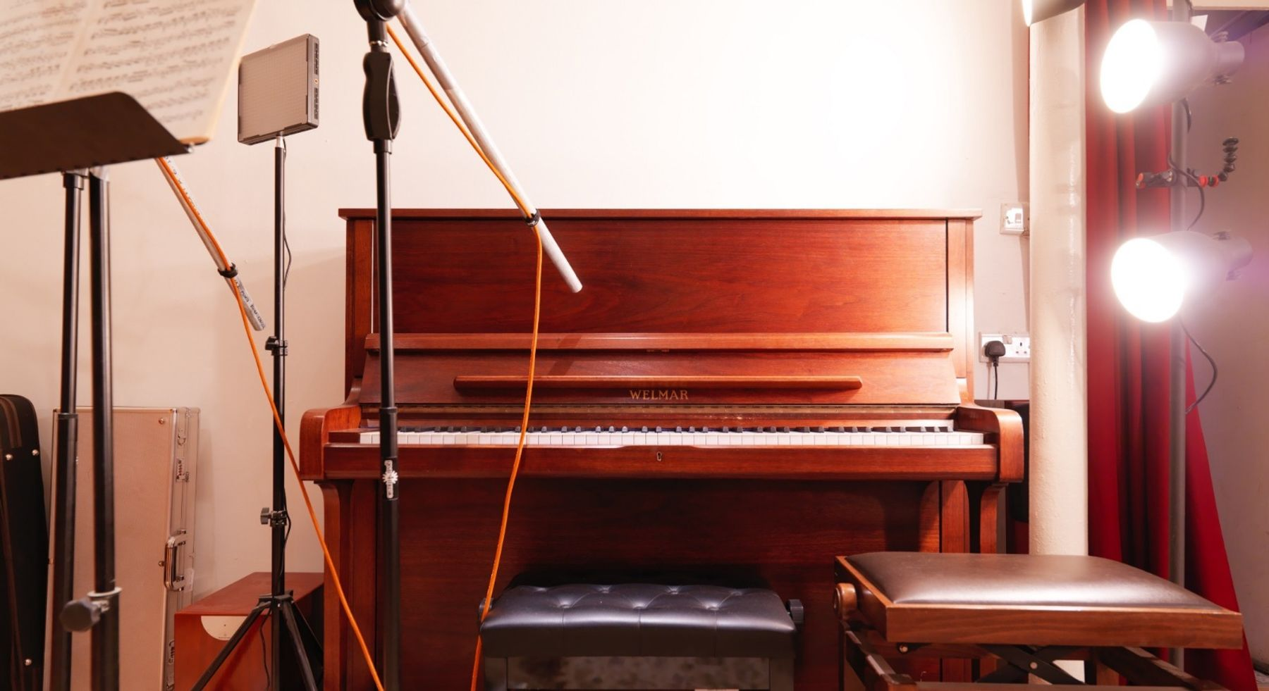 Rehearsal space with piano