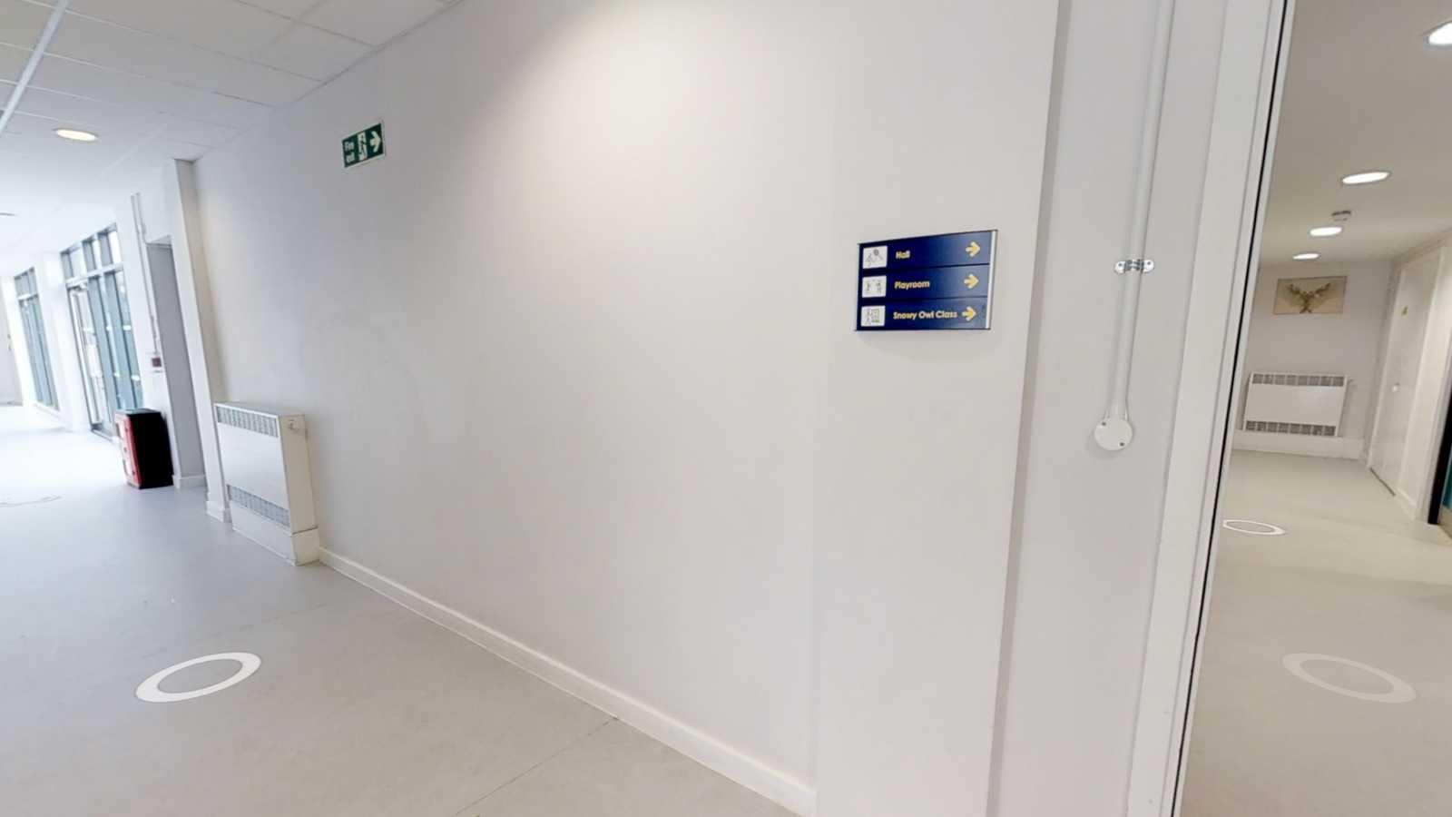Light filled white corridor