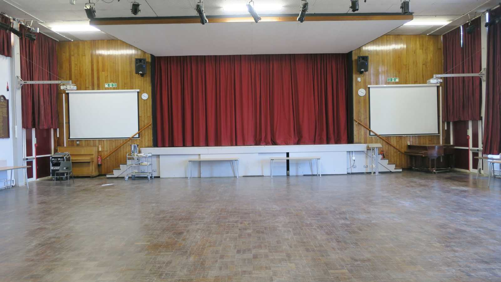 Hall with elevated stage